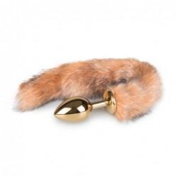Goldfarbener Analplug mit gestreiftem Fuchsschwanz kaufen