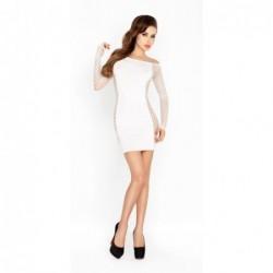Weißes Minikleid mit Ärmeln aus Netzmaterial kaufen