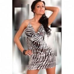 Glänzendes Kleidchen Eliora in Schwarz/Weiß kaufen